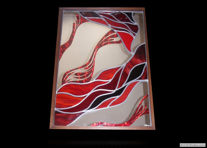 Red Wall Glass Art
